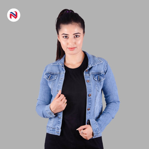 Nyptra Light Blue Stretchable Crop Denim Jacket For Women price in nepal