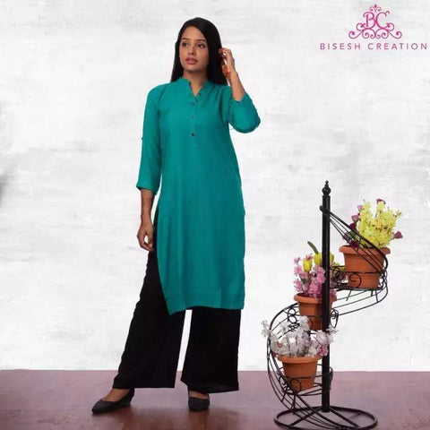 Bisesh Creation Seagreen Black Mandarin Collared Rayon Kurti For Women