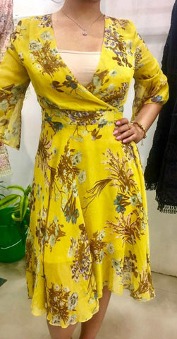 Yellow Floral Printed Midi Dress price in nepal