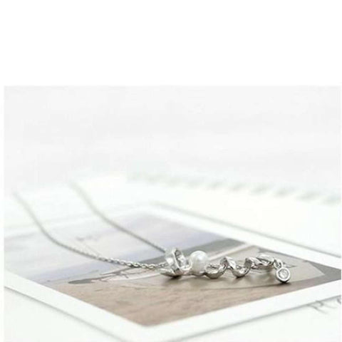 Love Letter Faux Pearl Charm Pendant Chain Golden Color price in Nepal
