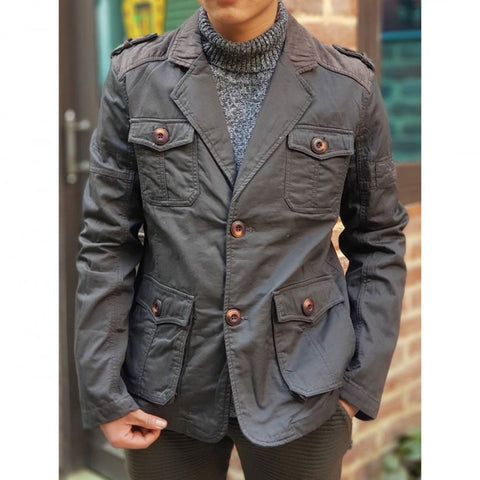 Grey Velvet Shoulder Blazer For Men