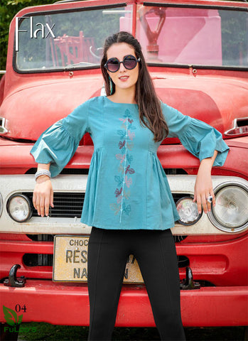 FLAX Cotton Designer Embroidered Short Tops. ( BLUE ) price in nepal