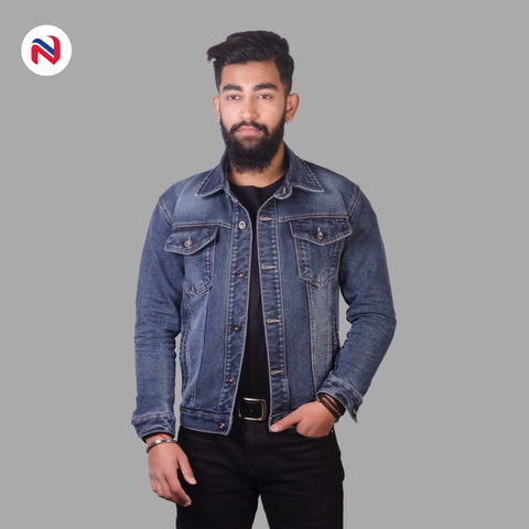 Nyptra Blue Gray Solid Stretchable Denim Jeans Jacket For Men