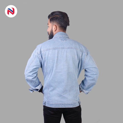 Nyptra Light Blue Solid Denim Jeans Jacket For Men