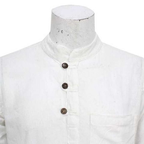 White Front Buttoned Kurta Shirt For Men / Women