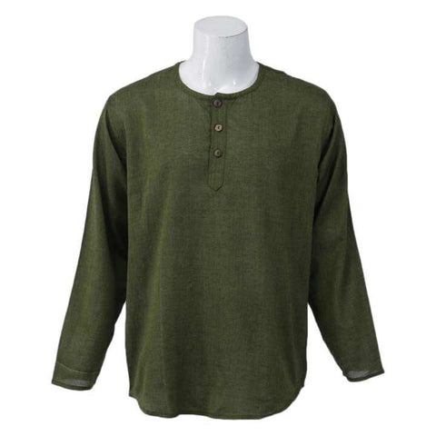 Green Solid Collar Neck Tops For Men / Women