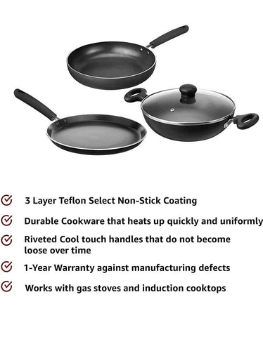 Non-Stick Induction Base Cookware Set 3 pc