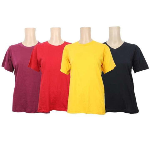 Pack Of Four Cotton T-Shirt For Women - Maroon/Red/Yellow/Black