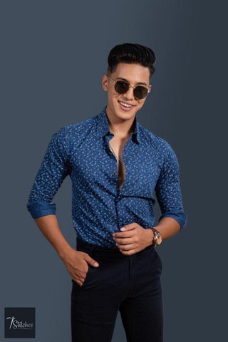 Blue Cotton Shirt For Men