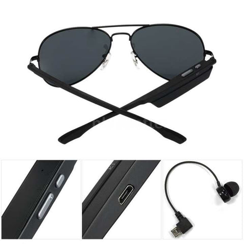 Black Aviator Polarized Bluetooth Sunglasses With Headphone For Men