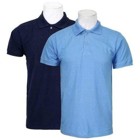 Pack Of 2 100% Cotton Polo T-Shirt For Men - Navy/Sky Blue