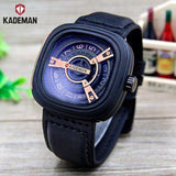 Kademan Casual Stylish Analog Leather Watch For Men- Black/Blue
