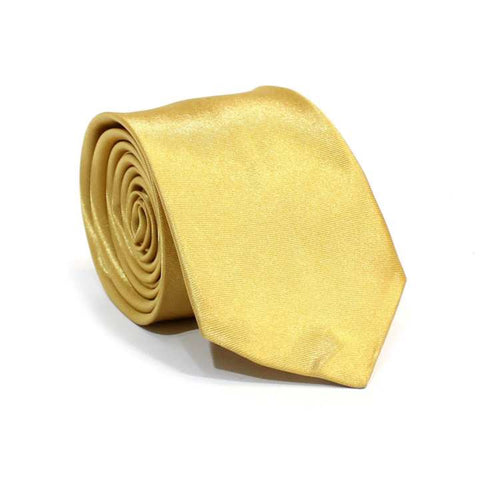 Golden Solid Shiny Tie For Men