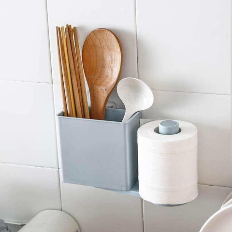 Kitchen Bathroom Paste Shelf Rotating Roll Tissue Holder