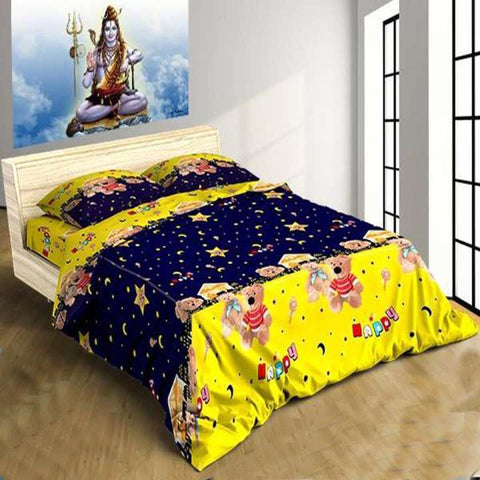 Teddy Printed King Size Bed Sheet