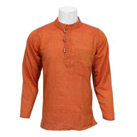Orange Wooden Buttoned Kurta Shirt For Men / Women