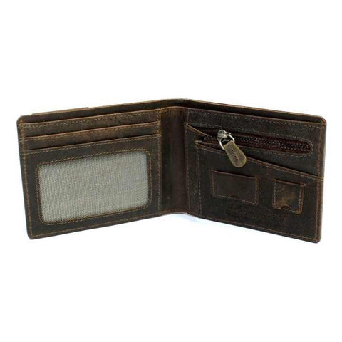 2 Folding Brown Unique Genuine Hunter Leather Wallet For Men