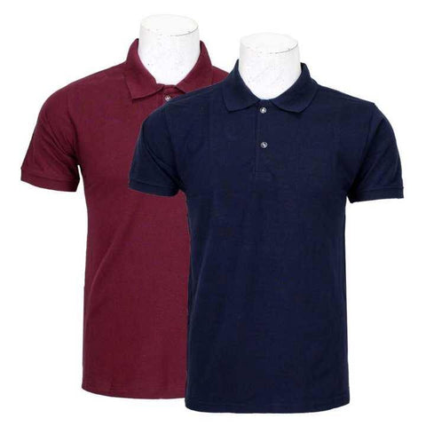 Pack Of 2 100% Cotton Polo T-Shirt For Men - Maroon/Navy Blue