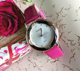 Crystal White Dial Pink Color Leather Strap Ladies Watch For Woman