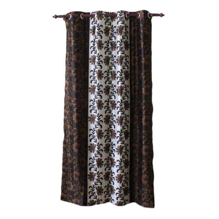 Floral Printed Cotton Fabric Window/Door Curtain - (Black/Brown)