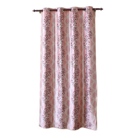 Floral Printed Cotton Fabric Window/Door Curtain - (Light Pink/Light Brown)