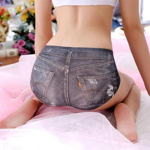3D Printed Denim Pattern Seamless Panty For Women