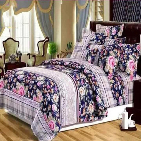 Super Vella Cotton King Size Bed Sheet With 2 Pillow Covers And 1 Duvet Cover