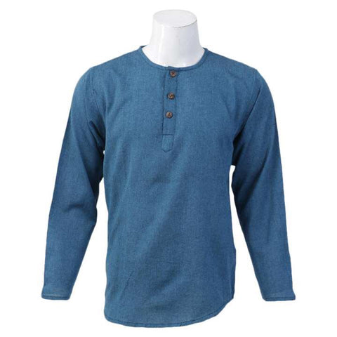 Bluish Green Solid Collar Neck Tops For Men / Women