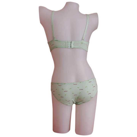 Green Lovely Girl Printed Lingerie Set For Women