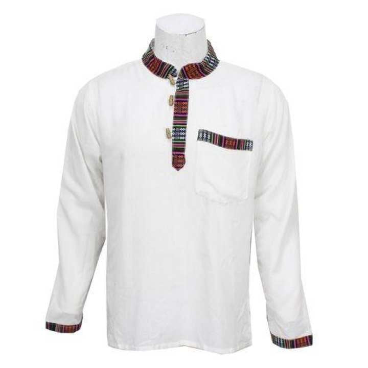 White Bhutani Designed Kurta Shirt For Men / Women