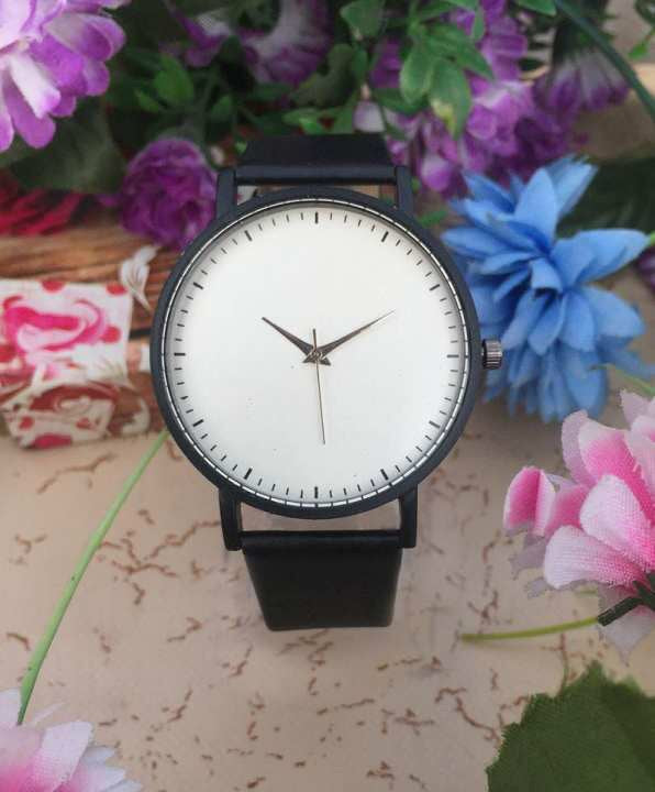 White Dial Matte Black Belt Turntable Casual Watch For Men & Women
