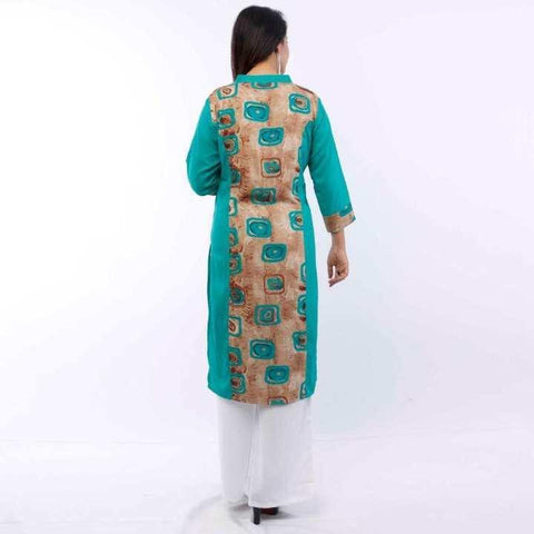 Teal Blue Printed Rayon Kurti For Women