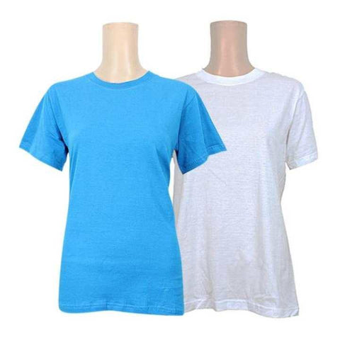 Pack Of 2 Cotton T-Shirt For Women -Sky Blue/White