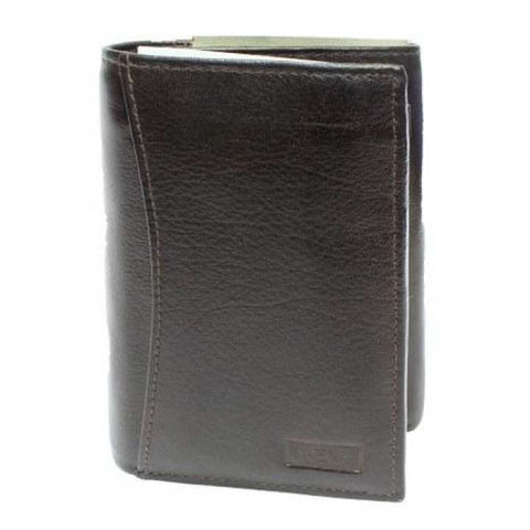 Brown Textured Tri-Fold Wallet For Men
