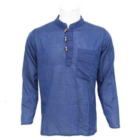 Royal Blue Wooden Buttoned Kurta Shirt For Men / Women
