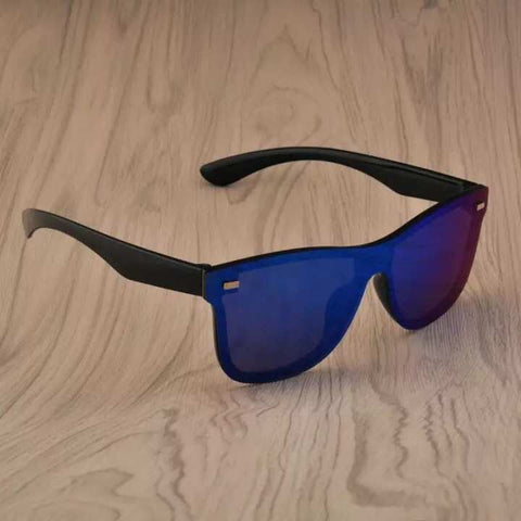 Vintage Blue mercury man Women Rimless Square frame Flat Sunglass