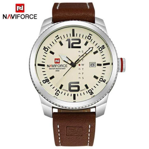 NaviForce NF9063M Date/Day Function Analog Watch For Men- Beige/Brown