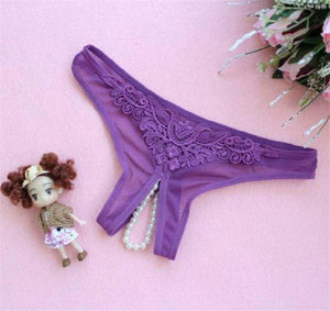 Butterfly Embroidery Open Crotch Low Waist Pearls G-string Panty