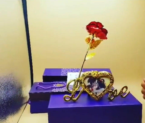 24 k Gold Rose with frame for valentine Day