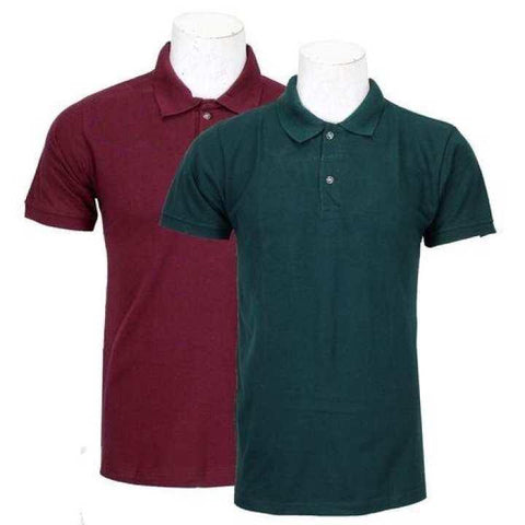 Pack Of 2 100% Cotton Polo T-Shirt For Men - Maroon/Dark Green