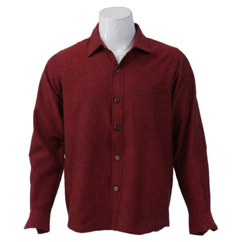 Red Cotton Casual Shirt For Men