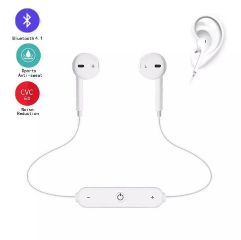 Wireless Bluetooth Earphones Sport Running Metal Magnetic With Mic