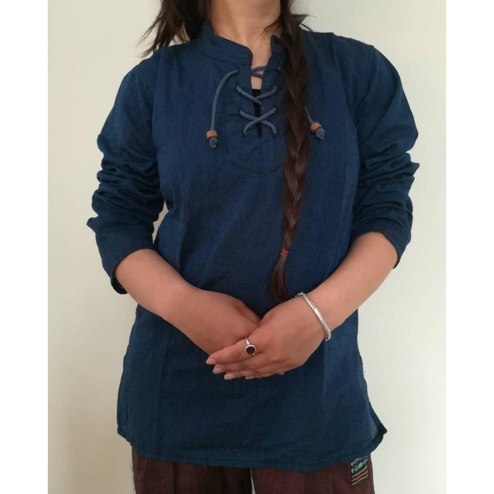 Dark Blue Dhori Kurta Shirt For Women
