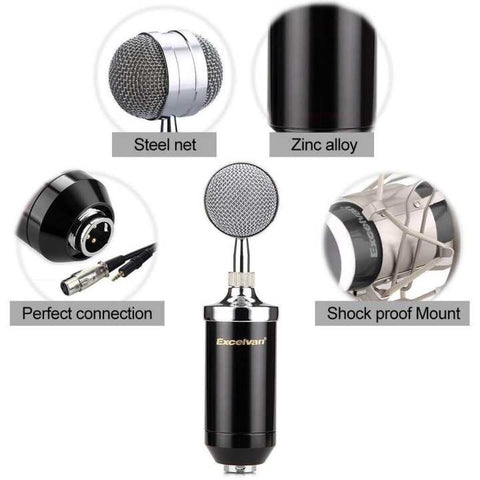 BM 8000 Condenser Sound Studio Recording Broadcasting Microphone+Pop Filter+Shock Mount