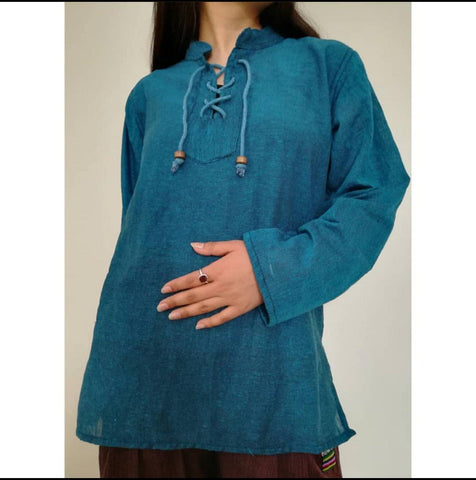 Sky Blue Dhori Kurta Shirt For Women