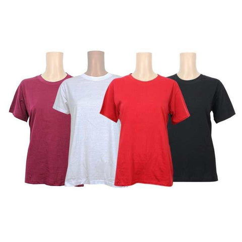 Pack Of 4 Cotton T-Shirt For Women -Maroon/White/Orange/Black