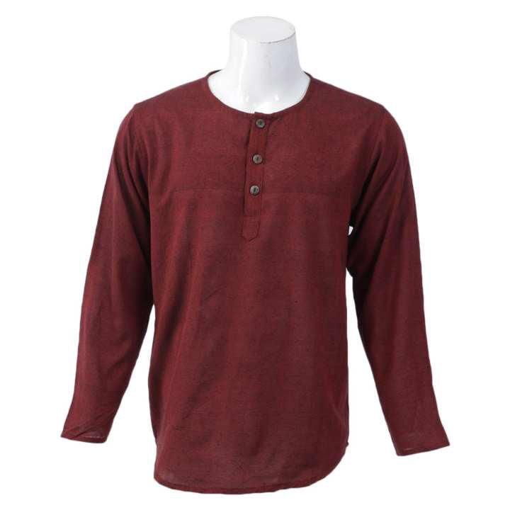 Red Solid Collar Neck Tops For Men / Women