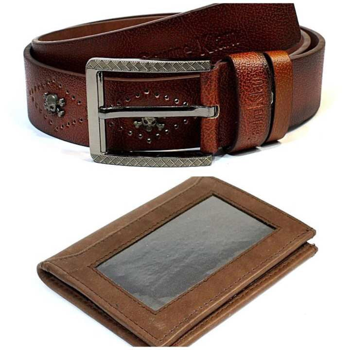 Combo of Skull Studded Belt and Wallet/Bluebook Holder For Men- Brown