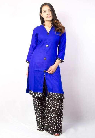 Blue V-Neck Front Buttoned Kurta With Printed Palazzo Set For Women
