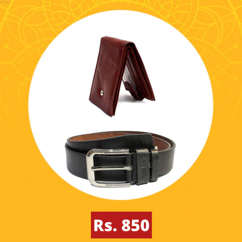 Combo Belt and Genuine Leather Wallet For Men